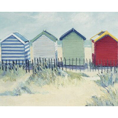 Art Group Suffolk Beach Huts by Jane Hewlett Art Print on Canvas