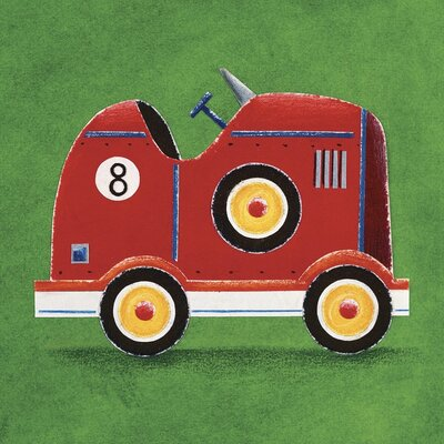 Art Group Red Racing Car - Number 8 by Simon Hart Art Print on Canvas