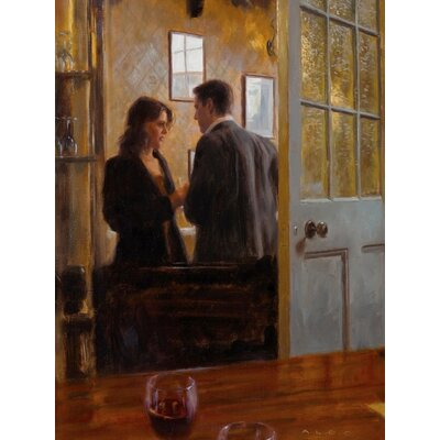 Art Group Conversation in The Lounge Bar by Aldo Balding Canvas Wall Art