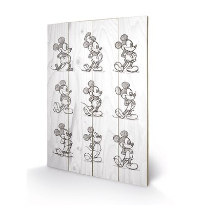 Art Group Mickey Mouse, Sketched - Multi Art Print Plaque