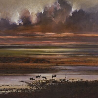 Art Group Cattle at Sunset by Jonathan Sanders Canvas Wall Art
