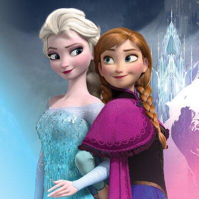 Art Group Frozen, Elsa and Anna Poster Vintage Advertisement Canvas Wall Art