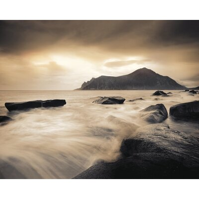 Art Group Sepia Sea Lofoten Islands by Andreas Stridsberg Canvas Wall Art