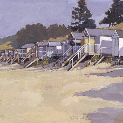 Art Group Beach Huts Against Fir Trees by John Sprakes Canvas Wall Art