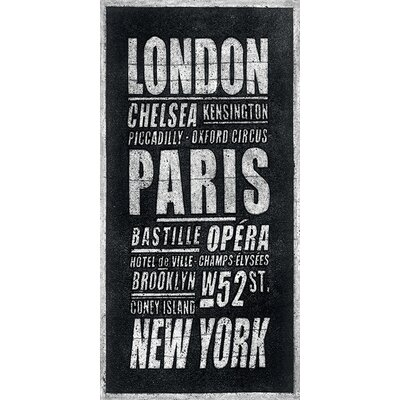 Art Group London Paris New York by Barry Goodman Typography Canvas Wall Art