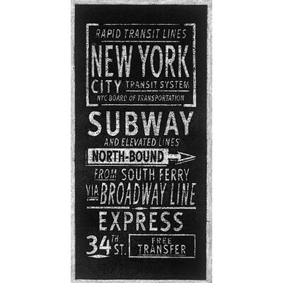 Art Group Rapid Transport Lines New York by Barry Goodman Typography Canvas Wall Art