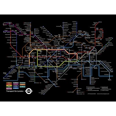 Art Group Transport for London - Black London Underground Map Graphic Art on Canvas