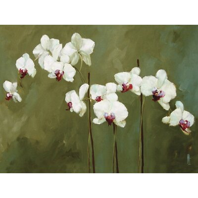 Art Group Orchid in Greens by Nicola Acaster Canvas Wall Art