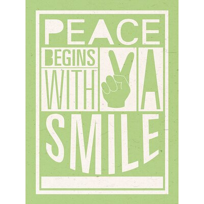 Art Group Peace Begins With A Smile by Sarah Winter Typography Canvas Wall Art
