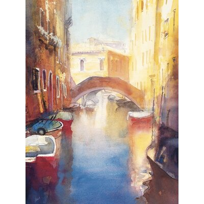 Art Group Canal with Orange Bridge by Cecil Rice Art Print on Canvas