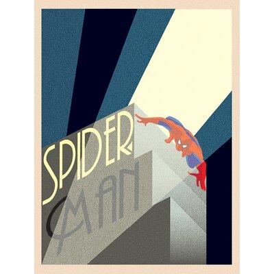 Art Group Marvel Deco, Spider-Man Building Vintage Advertisement Canvas Wall Art