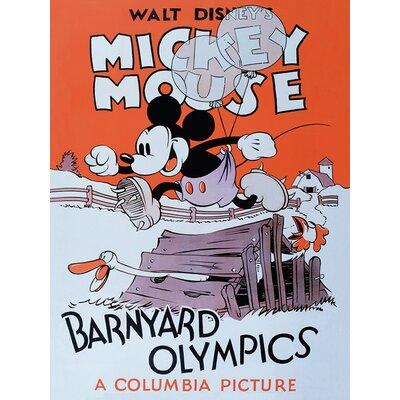 Art Group Mickey Mouse, Barnyard Olympics Vintage Advertisement Canvas Wall Art
