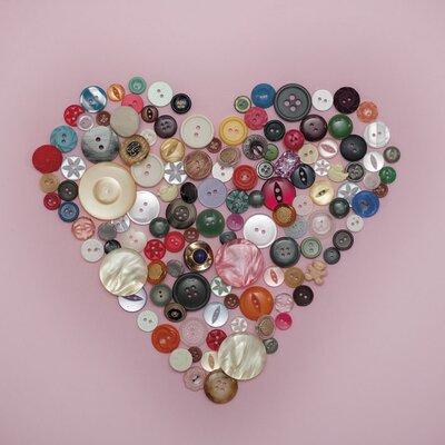 Art Group Buttons Heart by Ian Winstanley Canvas Wall Art