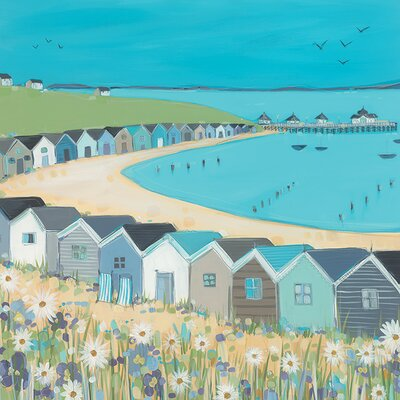 Art Group Beach Huts by Janet Bell Art Print on Canvas