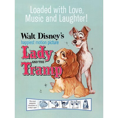 """Art Group Lady and the Tramp """"Love, Music and Laughter"""" Poster Vintage Advertisement Canvas Wall Art"""