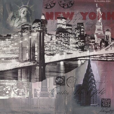 Art Group New York by Night by Martine Rupert Graphic Art on Canvas
