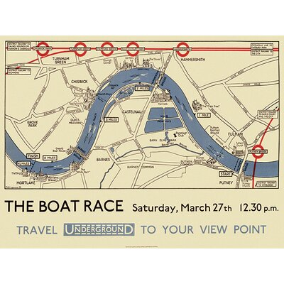 Art Group Transport for London - Boat Race Map Vintage Advertisement Canvas Wall Art