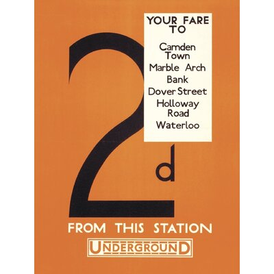 Art Group Transport for London 2d Your Fare to: Camden Town Vintage Advertisement on Canvas