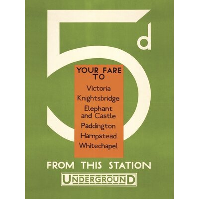 Art Group Transport for London - 5d, Your Fare to Victoria Vintage Advertisement Canvas Wall Art