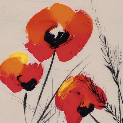 Art Group Three Poppies by Tibi Hegyesi Art Print on Canvas