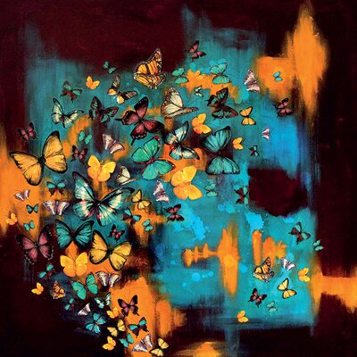 Art Group Butterflies on Turquoise by Lily Greenwood Canvas Wall Art