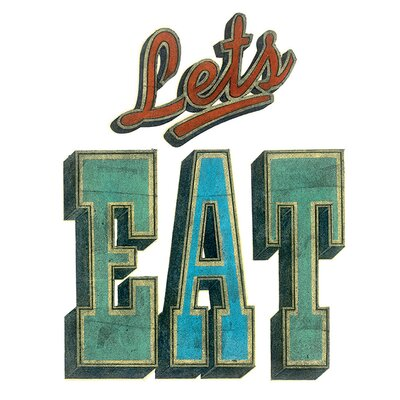 Art Group Let 's Eat by Barry Goodman Typography Canvas Wall Art