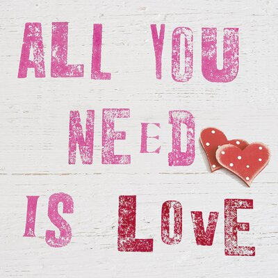 Art Group All You Need Is Love by Howard Shooter Typography on Canvas