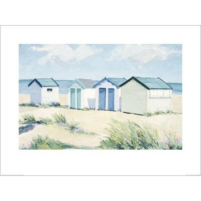 Art Group Beach Huts on a Bright Day by Jane Hewlett Art Print