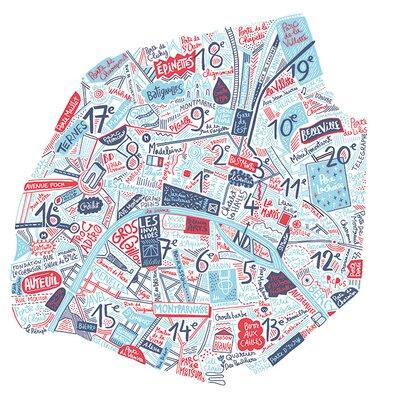 Art Group Paris Map by Benoit Cesari Canvas Wall Art