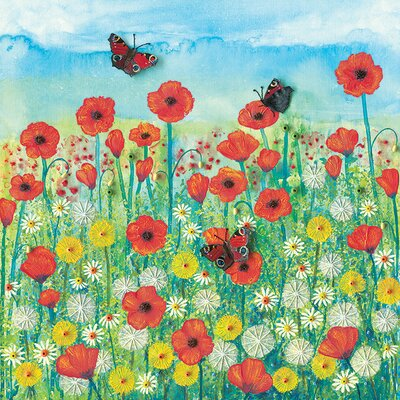 Art Group Peacocks And Poppies by Jo Grundy Canvas Wall Art