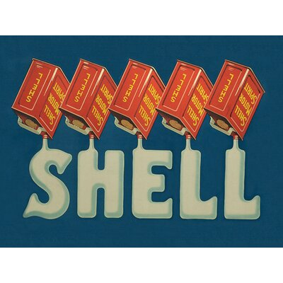 Art Group Shell Five Cans 'Shell', 1920 Vintage Advertisement Canvas Wall Art