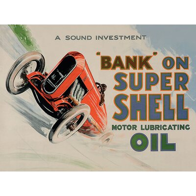 Art Group Shell Bank On Shell - Racing Car, 1924 Vintage Advertisement Canvas Wall Art