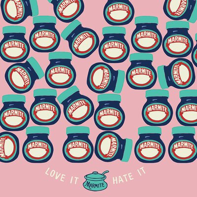 Art Group Marmite Love It Or Hate It Pink Canvas Wall Art