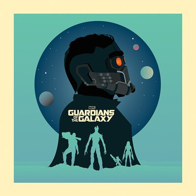 Art Group Guardians of The Galaxy Silhouettes Vintage Advertisement Canvas Wall Art