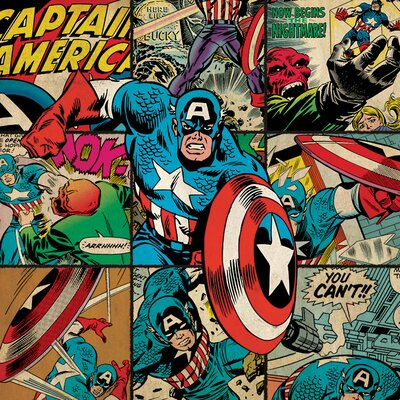 Art Group Marvel Comics Captain America Squares Canvas Wall Art