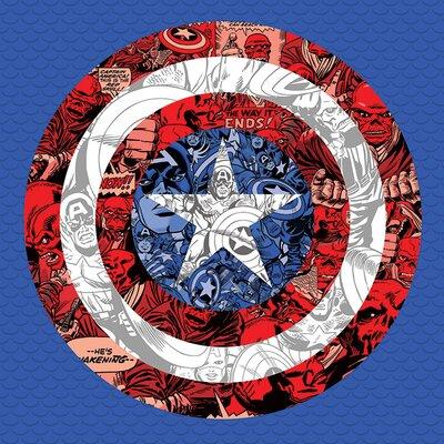 Art Group Marvel Comics Captain America Shield Collage Canvas Wall Art