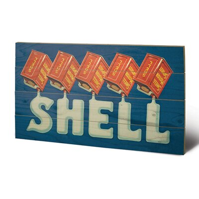 Art Group Shell Five Cans 'Shell', 1920 Vintage Advertisement Plaque