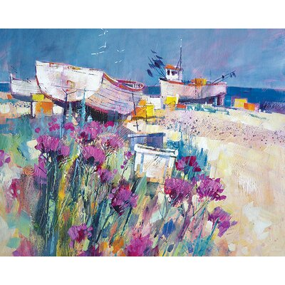 Art Group Boats And Beach Blooms by Chris Forsey Canvas Wall Art