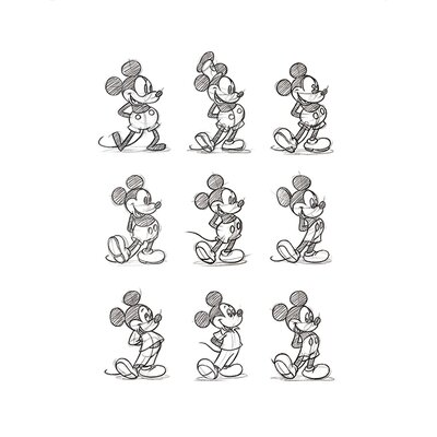 Art Group Mickey Mouse, Sketched - Multi Art Print