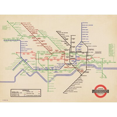 Art Group London Underground - 1936 Map Canvas Wall Art