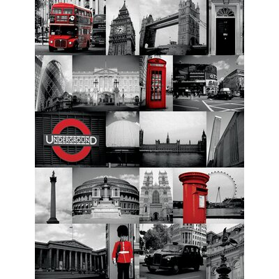 Art Group London - Red Collage Canvas Wall Art