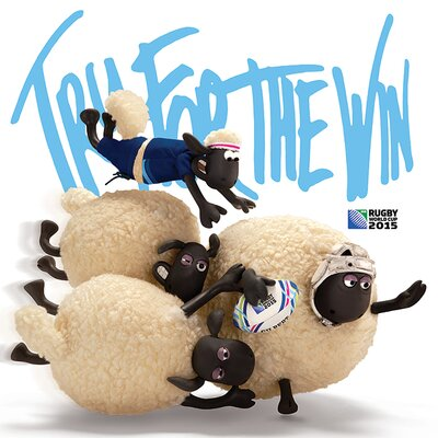 Art Group Rugby World Cup - Shaun The Sheep Try for the Win Vintage Advertisement Canvas Wall Art