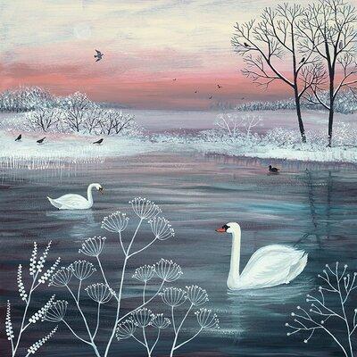Art Group Jo Grundy Pool - Winter Serenity Canvas Wall Art