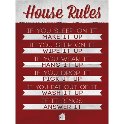 Art Group House Rules Typography Canvas Wall Art