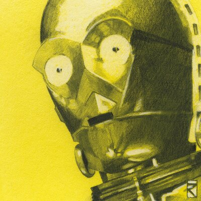 Art Group Star Wars - C3Po Sketch Canvas Wall Art