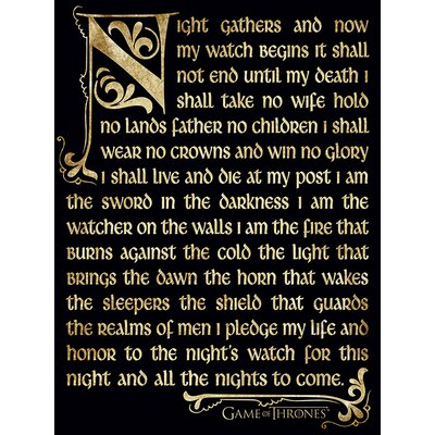 Art Group Game of Thrones Season 3 - Nightwatch Oath Typography Canvas Wall Art