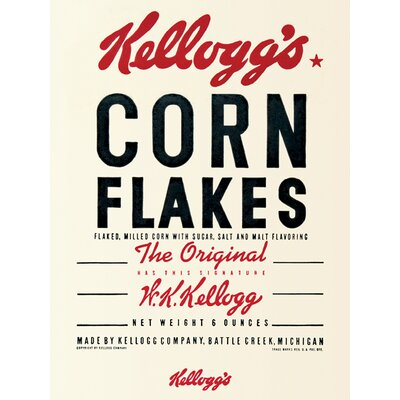 Art Group Vintage Kelloggs - Corn Flakes Typography Canvas Wall Art