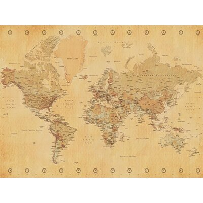 Art Group World Map - Vintage Style Canvas Wall Art