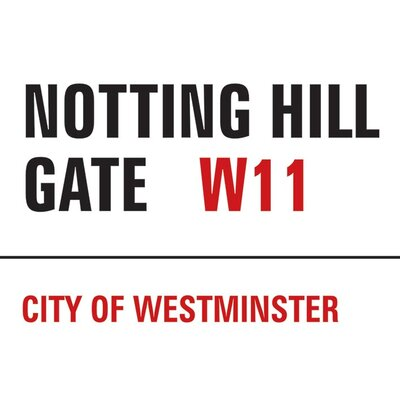 Art Group London - Notting Hill Gate Typography Canvas Wall Art