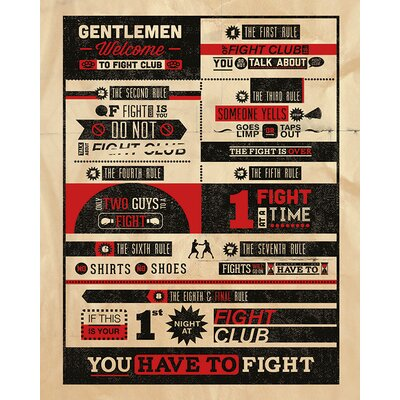 Art Group Fight Club Rules - Infographic Typography Canvas Wall Art